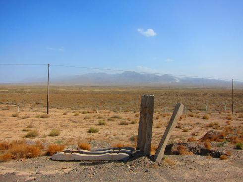 So near and yet so far - the Qilian Mountains seen from the hot plains of the Hexi Corridor