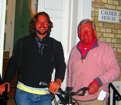 THRB with Donald Legget - trustee of the HMCRT outside the Hawks Club, Cambridge
